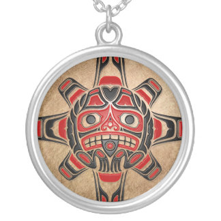 Haida Sun Mask Silver Plated Necklace