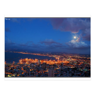 Haifa night postcard