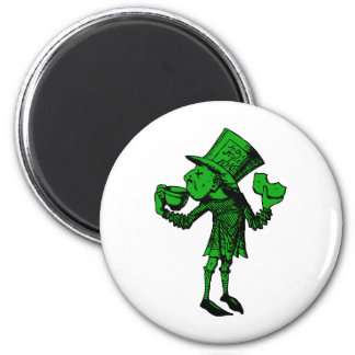 Haigha (Mad Hatter) Inked Green Fill 2 Inch Round Magnet