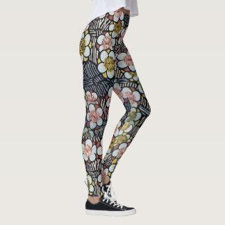 HAIKU/ BLACK WHITE PINK YELLOW SPRING FLOWERS LEGGINGS