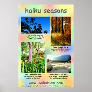 Haiku Seasons poster (multi-coloured background)