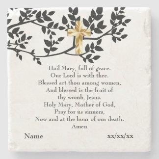 Hail Mary Prayer Catholic Gift Personalized Stone Coaster