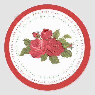 Hail Mary Text w/Roses Classic Round Sticker