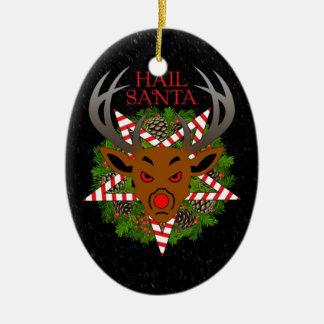 Hail Santa Ceramic Oval Ornament