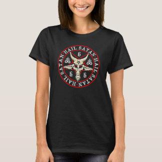 """""""Hail Satan"""" Baphomet in Pentagram Pagan T-Shirt"""