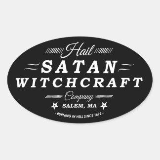 Hail Satan Witchcraft Co Salem MA Vintage Logo Oval Sticker