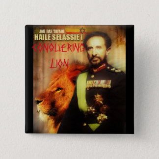 HAILE SELASSIE 2 INCH SQUARE BUTTON