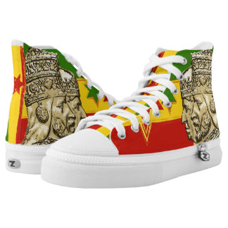 Haile Selassie Empress Menen Hi Top Rasta Shoes