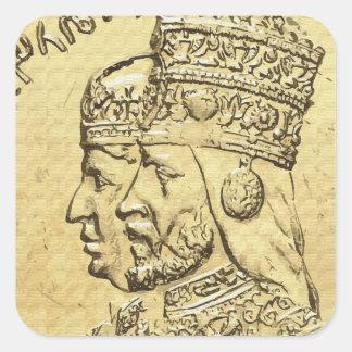 Haile Selassie Empress Menen Rasta Lion of Judah Square Sticker