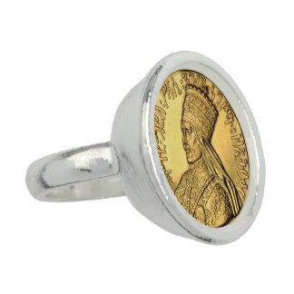 Haile Selassie Rasta Silver Ring