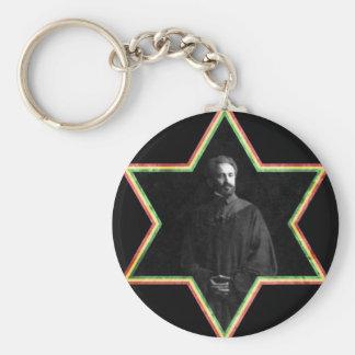 Haile Selassie Star of David Keychain