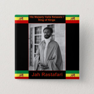 Haile Selassie the Lion of Judah, Jah Rastafari 2 Inch Square Button