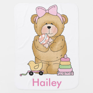 Hailey's Teddy Bear Personalized Gifts Baby Blanket