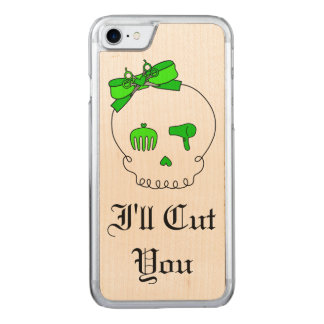 Hair Accessory Skull (Bow Detail Lime Green #5) Carved iPhone 8/7 Case