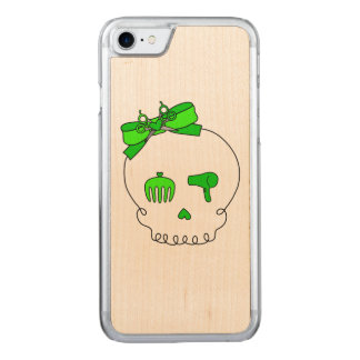 Hair Accessory Skull (Bow Detail Lime Green) Carved iPhone 7 Case