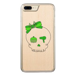 Hair Accessory Skull (Bow Detail Lime Green) Carved iPhone 7 Plus Case
