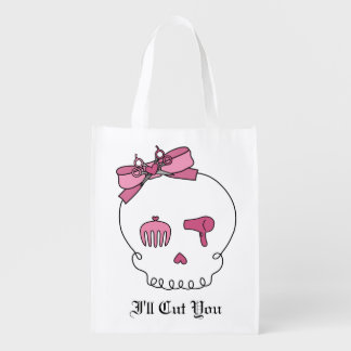 Hair Accessory Skull (Bow Detail Pink) Reusable Grocery Bag