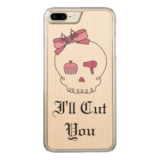 Hair Accessory Skull (Bow Detail Pink w/ Text 3) Carved iPhone 7 Plus Case