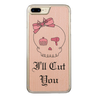 Hair Accessory Skull (Bow Detail Pink w/ Text 4) Carved iPhone 7 Plus Case