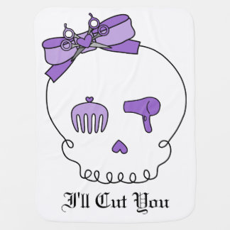 Hair Accessory Skull (Bow Detail Purple) Baby Blanket