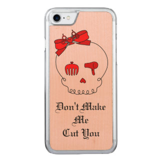 Hair Accessory Skull (Bow Detail Red w/ Text 2) Carved iPhone 7 Case