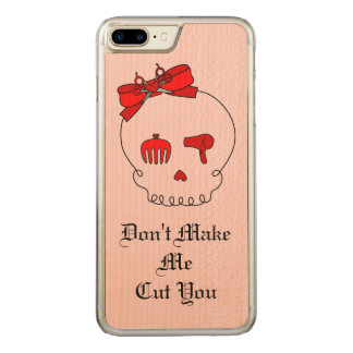 Hair Accessory Skull (Bow Detail Red w/ Text 2) Carved iPhone 7 Plus Case