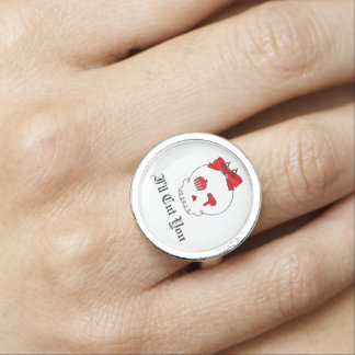 Hair Accessory Skull (Bow Detail Red w/ Text 3) Ring