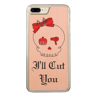 Hair Accessory Skull (Bow Detail Red w/ Text 4) Carved iPhone 7 Plus Case