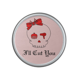 Hair Accessory Skull (Bow Detail Red w/ Text 4) Speaker