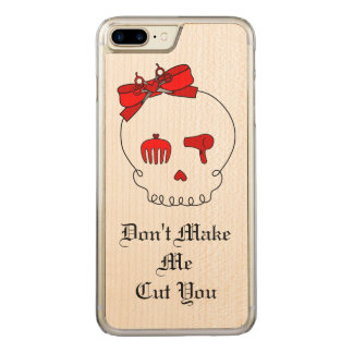 Hair Accessory Skull (Bow Detail Red w/ Text) Carved iPhone 7 Plus Case
