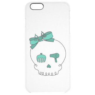 Hair Accessory Skull (Bow Detail Turquoise) Clear iPhone 6 Plus Case