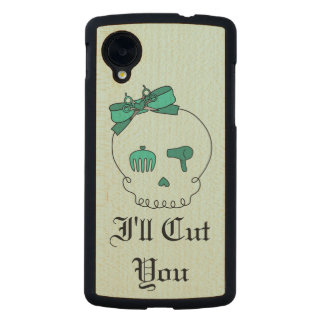 Hair Accessory Skull (Bow Detail Turquoise Text 4) Carved® Maple Nexus 5 Case