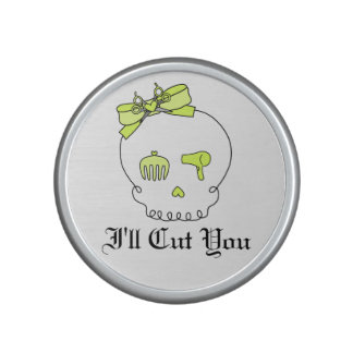 Hair Accessory Skull (Bow Detail Yellow w/ Text 3) Speaker