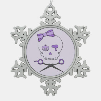 Hair Accessory Skull & Scissor Crossbones (Purple) Snowflake Pewter Christmas Ornament
