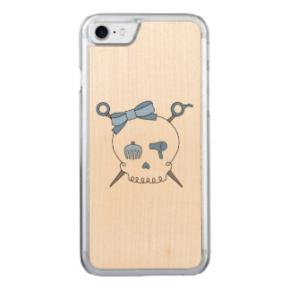 Hair Accessory Skull & Scissors (Blue) Carved iPhone 7 Case