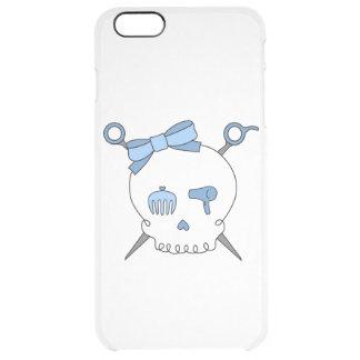 Hair Accessory Skull & Scissors (Blue) Clear iPhone 6 Plus Case