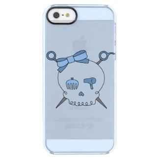 Hair Accessory Skull & Scissors (Blue Version 2) Clear iPhone SE/5/5s Case