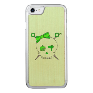 Hair Accessory Skull & Scissors (Lime Green #2) Carved iPhone 7 Case