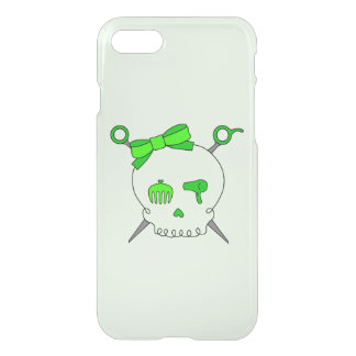 Hair Accessory Skull & Scissors (Lime Green #2) iPhone 7 Case