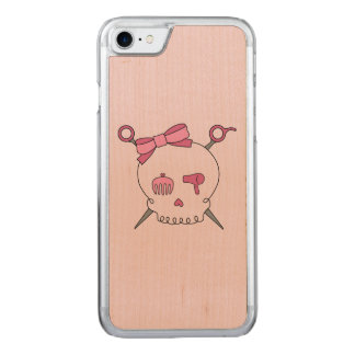 Hair Accessory Skull & Scissors (Pink Version 2) Carved iPhone 7 Case