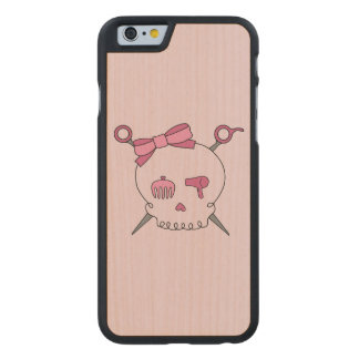 Hair Accessory Skull & Scissors (Pink Version 2) Carved® Maple iPhone 6 Slim Case