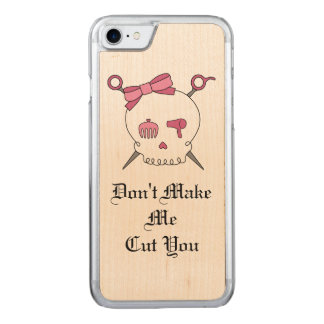 Hair Accessory Skull & Scissors (Pink Version 3) Carved iPhone 8/7 Case