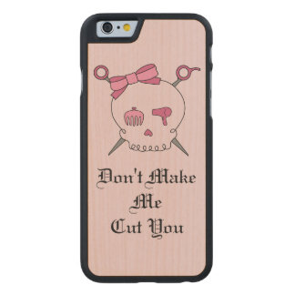 Hair Accessory Skull & Scissors (Pink Version 4) Carved® Maple iPhone 6 Slim Case