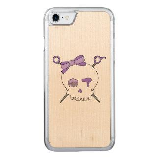Hair Accessory Skull & Scissors (Purple) Carved iPhone 7 Case