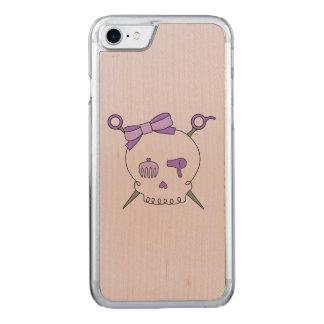 Hair Accessory Skull & Scissors (Purple Version 2) Carved iPhone 7 Case