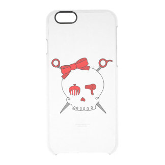 Hair Accessory Skull & Scissors (Red) Clear iPhone 6/6S Case