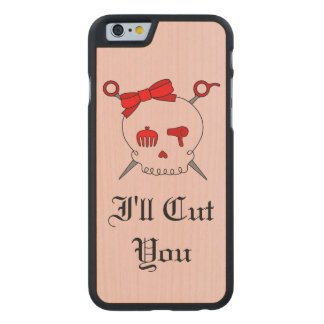 Hair Accessory Skull & Scissors (Red Version 6) Carved® Maple iPhone 6 Slim Case