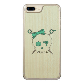 Hair Accessory Skull & Scissors (Turquoise #2) Carved iPhone 7 Plus Case
