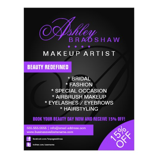 Hair and Makeup Artist Monogram Promotional Custom Flyer