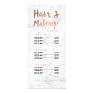 Hair and makeup gold typography marble price list rack card design